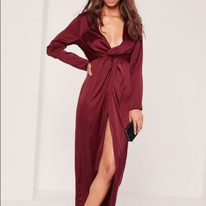 Missguided Burgundy Satin pludge maxi dress